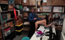Cute brunette shoplifter gets fucked in the back room
