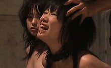 Petite asian sex slaves in chains mouth fucked in a dungeon