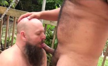 Horny bears with strong cocks and muscles fucking outdoors