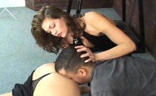 Babes in female domination scenes smothering lewd fellow