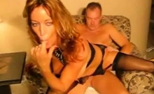 Wife in lingerie fucked and facialized on livecam