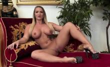 Flirty blonde is dominating her man