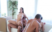 Cadey Mercury and Lily Jordans cock ride their dads man meat
