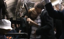 Floozy gropes and copulates a stranger in public sex scene
