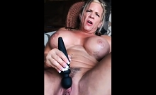Old Blond Cunt Shows Her Hairy Muff And Big Boobs