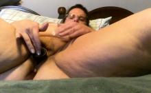 Solo mature masturbation session featuring skinny bitch
