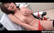 Chesty jap nurse masturbating and eating stiff man meat