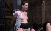 Bitch tears up during her depraved pussy torture session