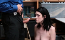 Shoplifter Ivy Aura fucks dudes cock in a doggystyle
