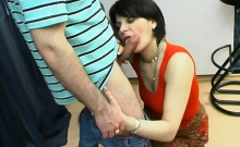 Russian Milf Giving A Blowjob