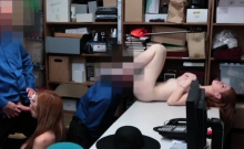Lauren Philips and Scarlett Snow foursome in the office