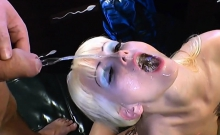Blonde Is On Her Knees For Group Of Men
