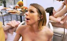 Brooklyn and Rosalyn servicing two cocks