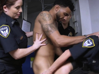 Lanky thug is coerced into penetrating perverted milf cops