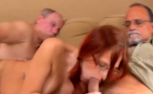 Hot redhead in glasses sucking and riding veteran rod