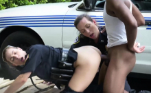 Milf cops make suspect strip and bang