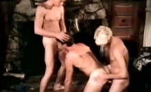 Four Handsome Gay Hunks Having Wild Group Sex