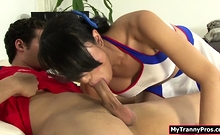 Asian TS cheerleader throats and ass fucked by soccer player