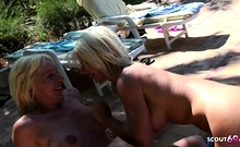 German Mature Seduce Young Boy to Fuck at Pool in Holiday