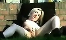 Blonde Slut Masturbating Outside In Public