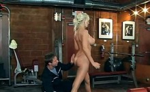 Blonde busty MILF doing her work out naked